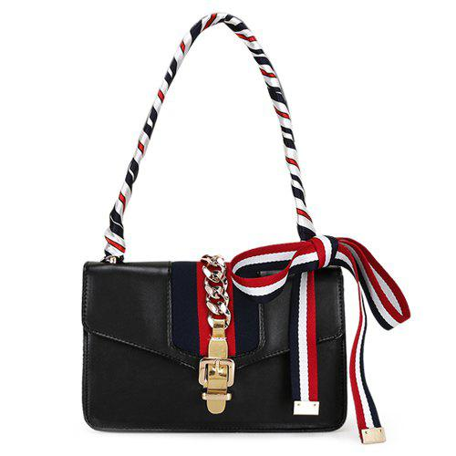 Fashion Hasp and Scarves Design Women's Crossbody Bag - BLACK