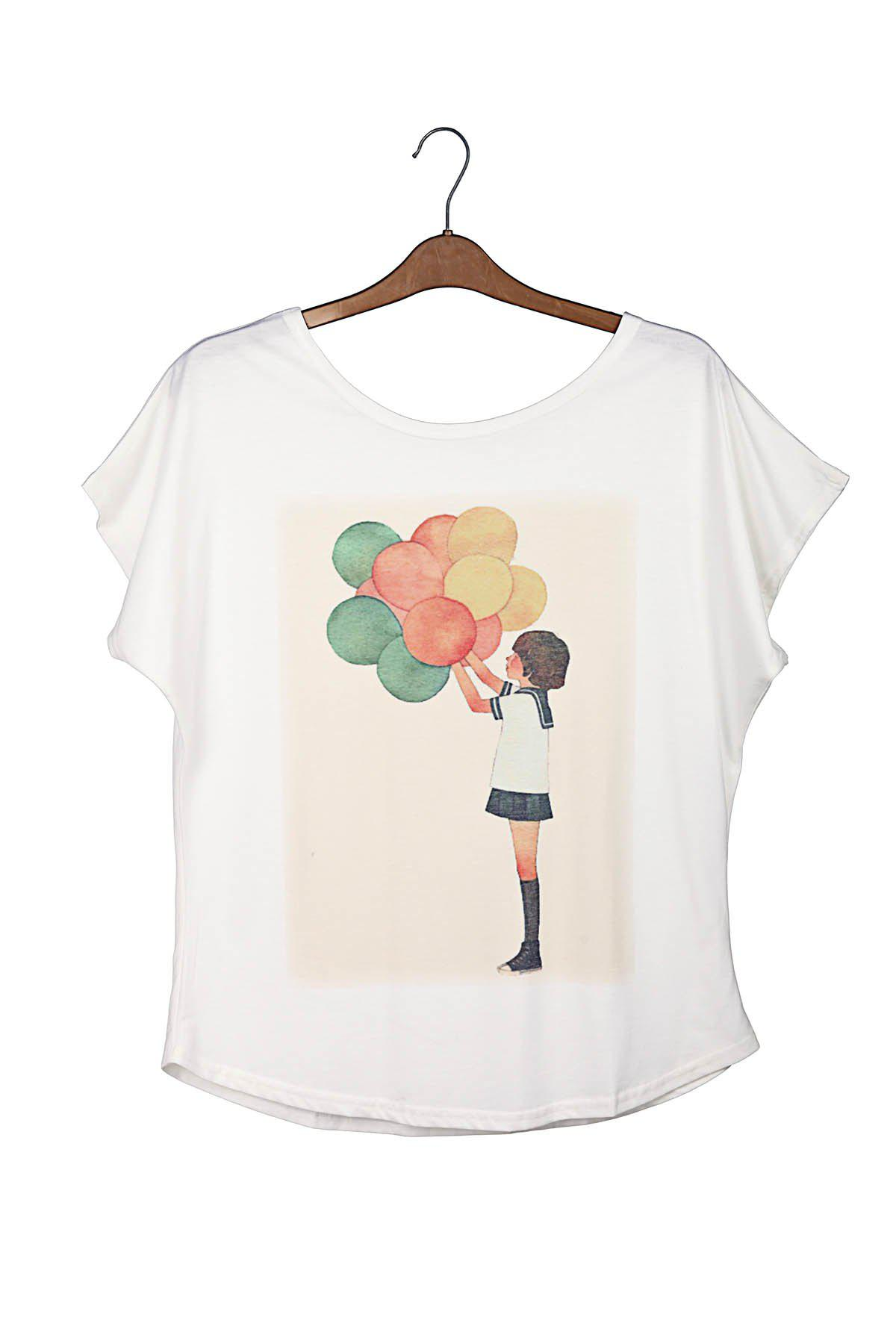 Balloon Print Laconic Scoop Neck Batwing Sleeve Women's T-Shirt - WHITE ONE SIZE