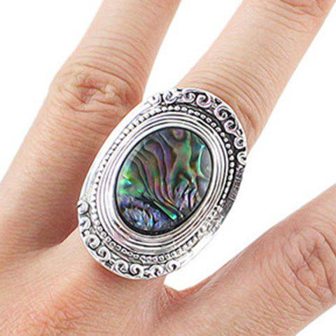 Retro Style Oval Carved Ring For Women