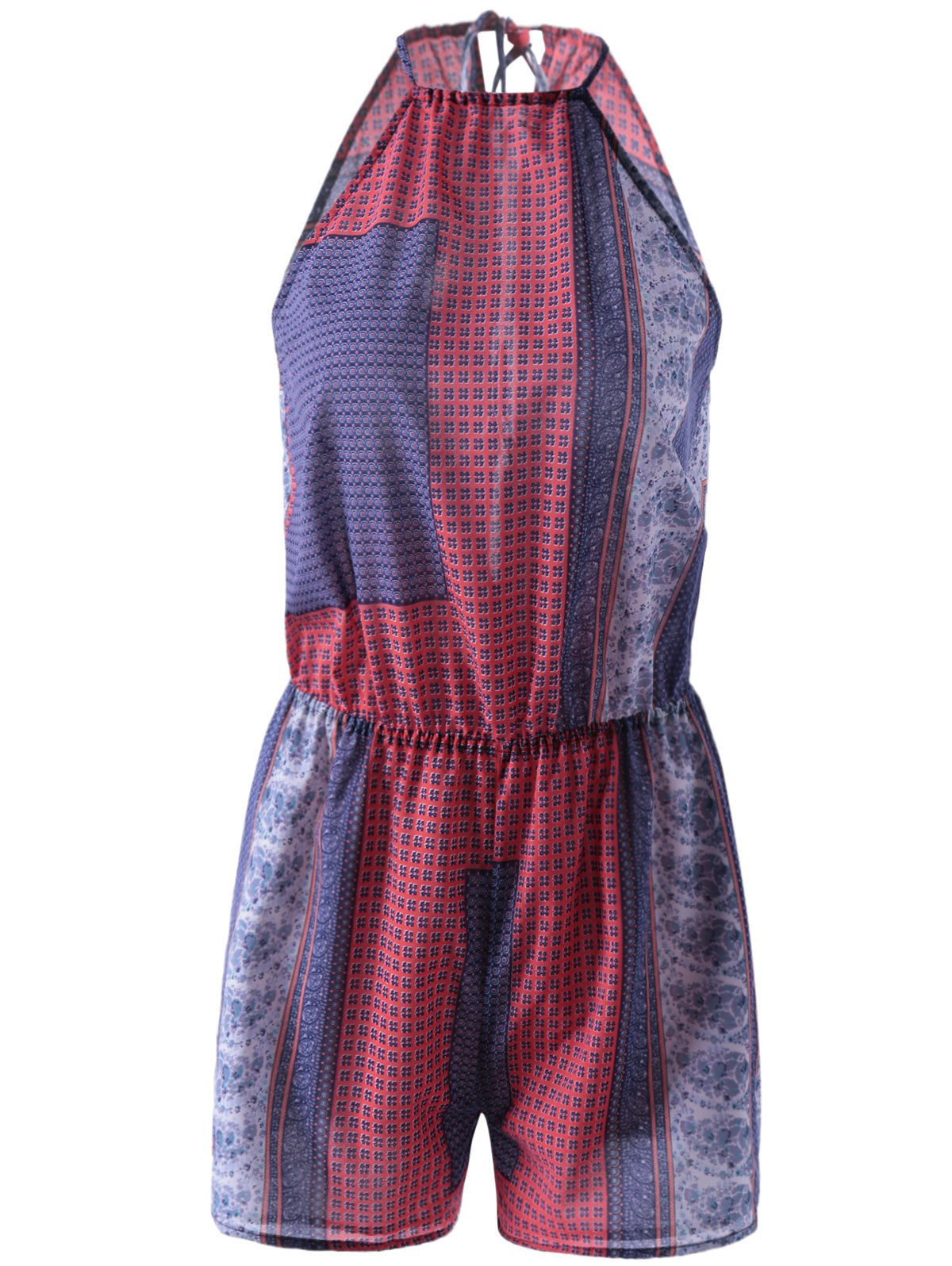 Fashionable Women's Halter Sleeveless Print Romper - BLUE/RED L