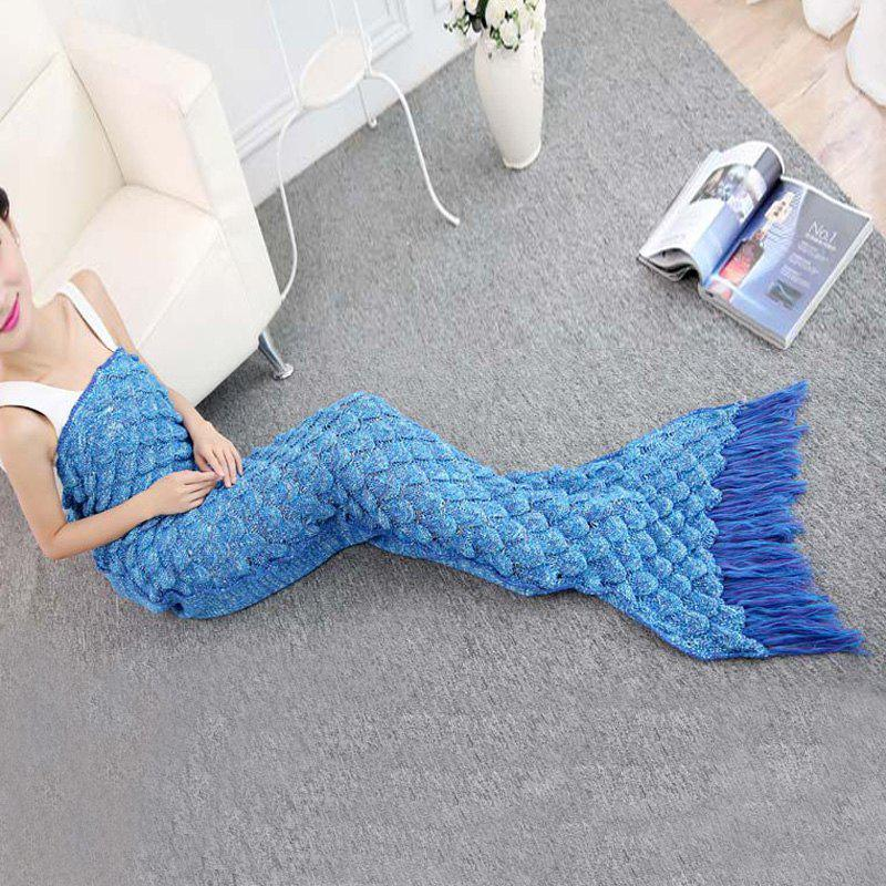 2016 Fashionable Fringed Fish Tail Design Sleeping Bag Mermaid Shape Knitting Blanket - WATER BLUE