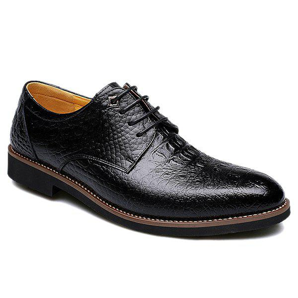 Trendy Crocodile Print and Lace-Up Design Men's Formal Shoes - BLACK 42