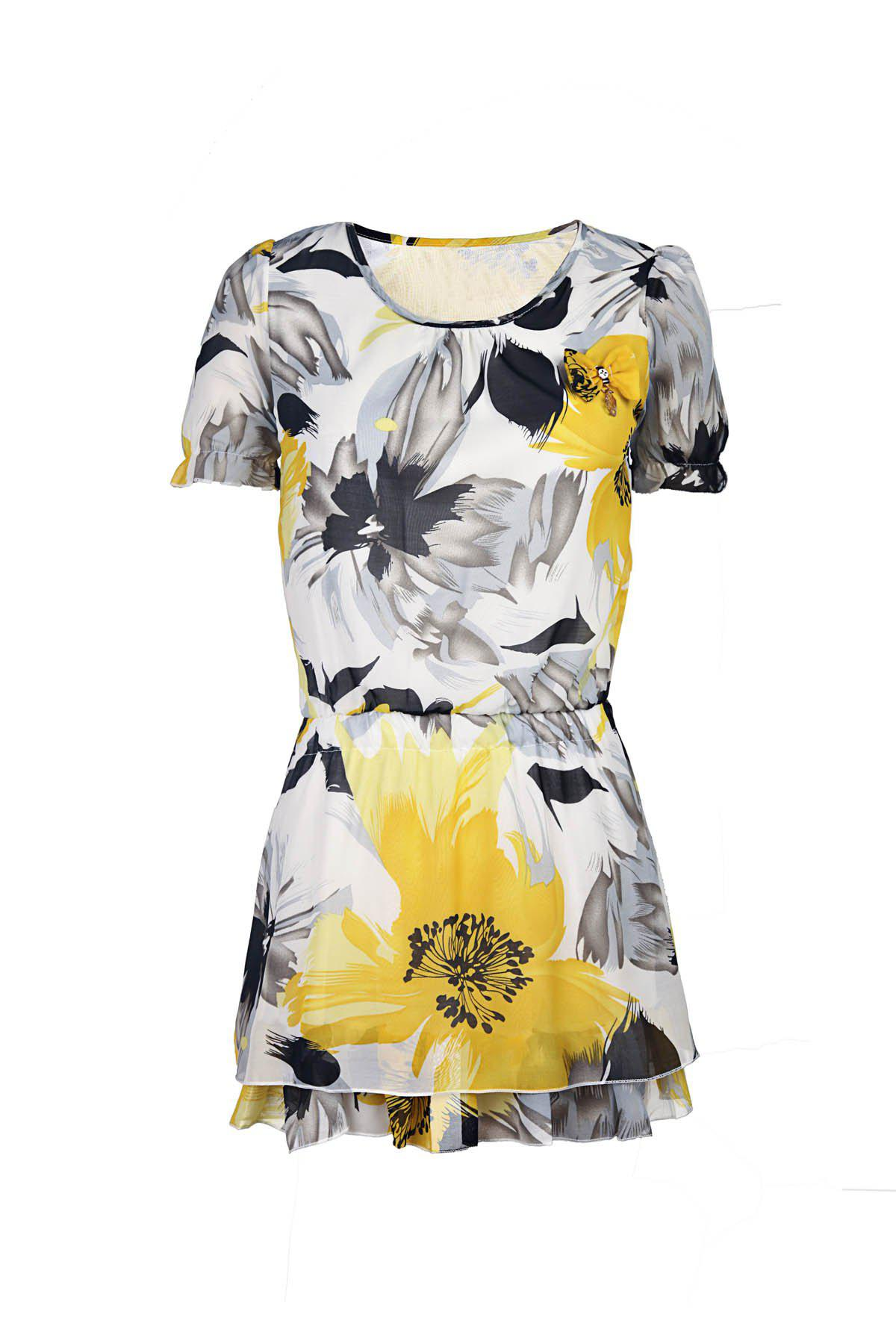 Floral Print Sweet Scoop Neck Short Sleeve Women's Chiffon Dress - YELLOW 2XL