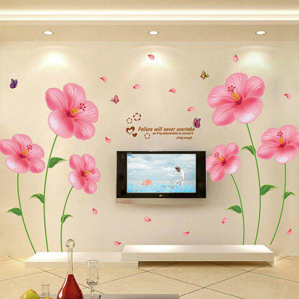 Fashion Romantic Pink Flowers Pattern Removable DIY Wall StickerHome<br><br><br>Color: PINK