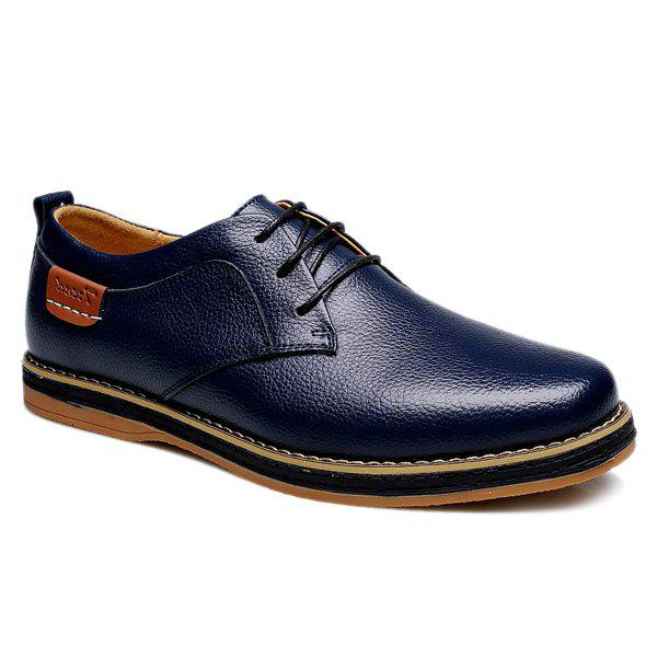 Preppy Lace-Up and Solid Color Design Men's Casual Shoes - BLUE 41