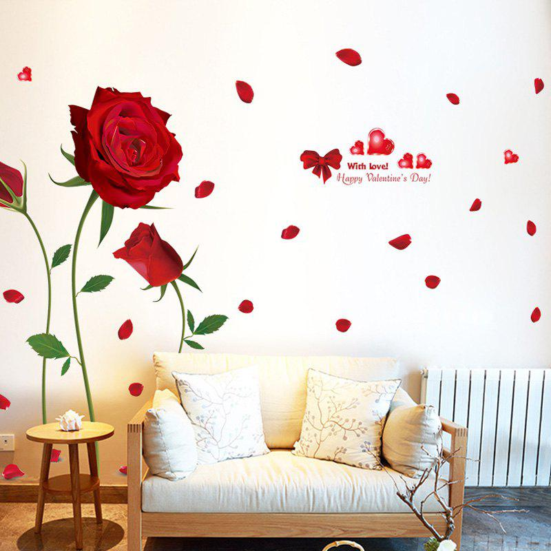 Stylish Romantic Red Rose Pattern Removable DIY Wall Sticker - RED