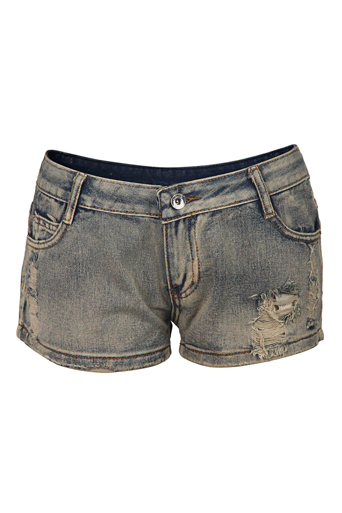 Women's Stylish Destroy Wash Straight-Leg Denim Shorts - BLUE 29