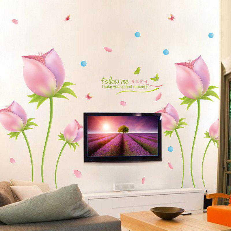 Fashionable Romantic Tulip Pattern Removable DIY Wall Sticker - COLORMIX