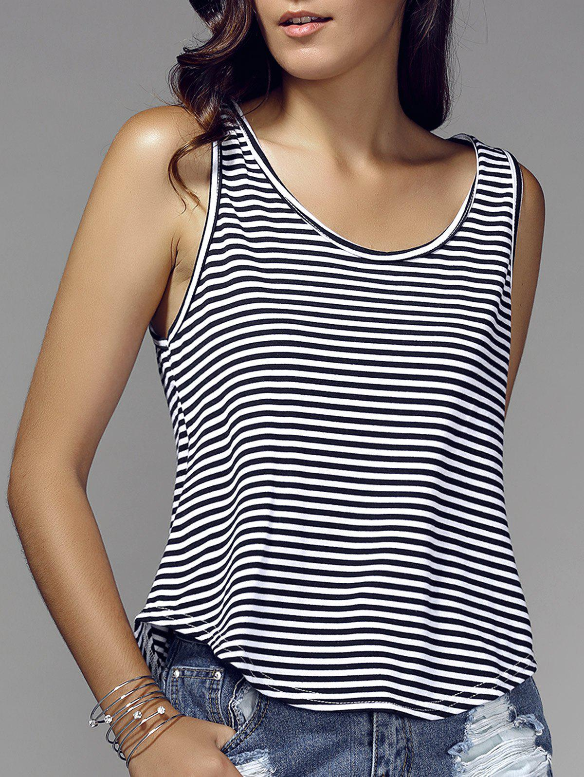 Stylish Scoop Neck Striped Loose-Fitted Tank Top For Women
