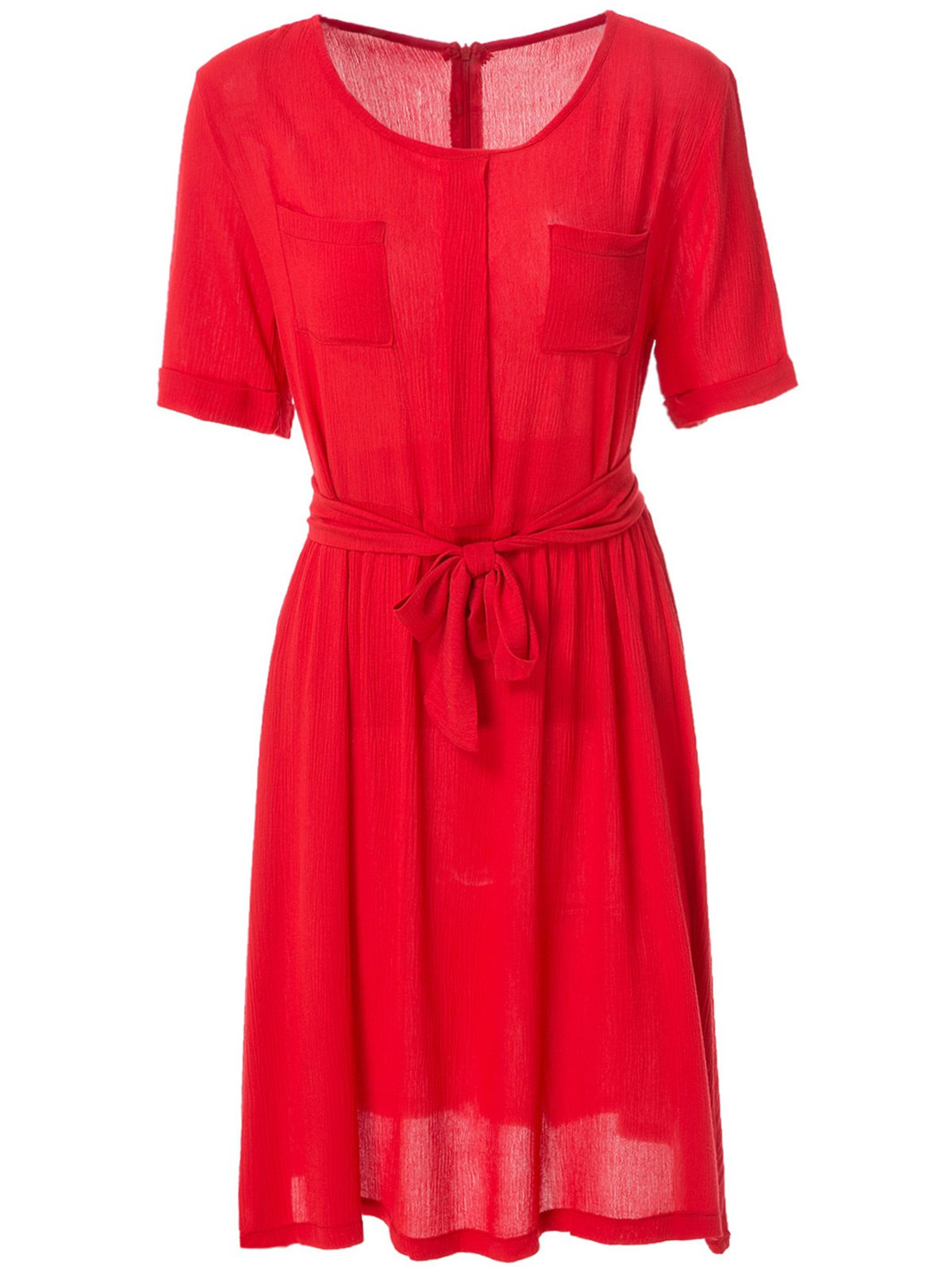Fashionable Jewel Neck Solid Color Elastic Waist Belt Short Sleeve Dress For Women - RED S
