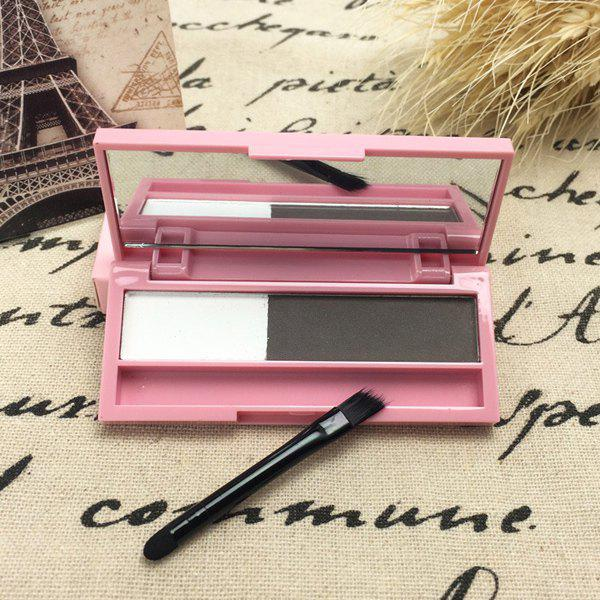 Cosmetic 2 Colours Long Lasting Sweatproof Smudge-Proof Eyebrow Powder Palette with Brush and Mirror stylish 3 colours smudge proof water soluble eyeliner powder palette with mirror and brush