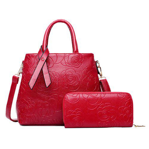 Graceful Floral Embossed and Solid Color Design Women's Tote Bag - RED