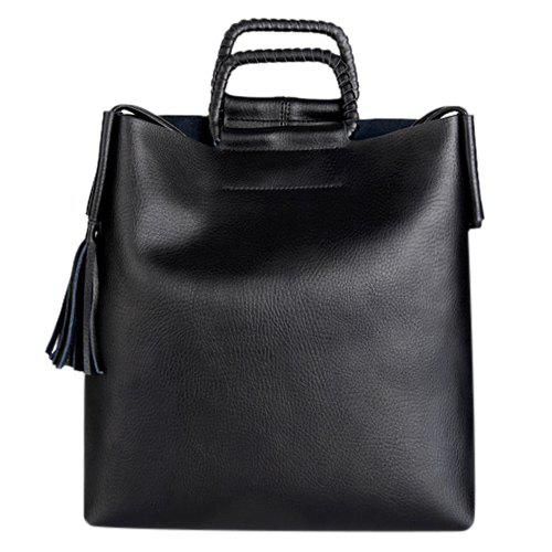 Concise Tassel and Solid Color Design Women's Tote Bag - BLACK