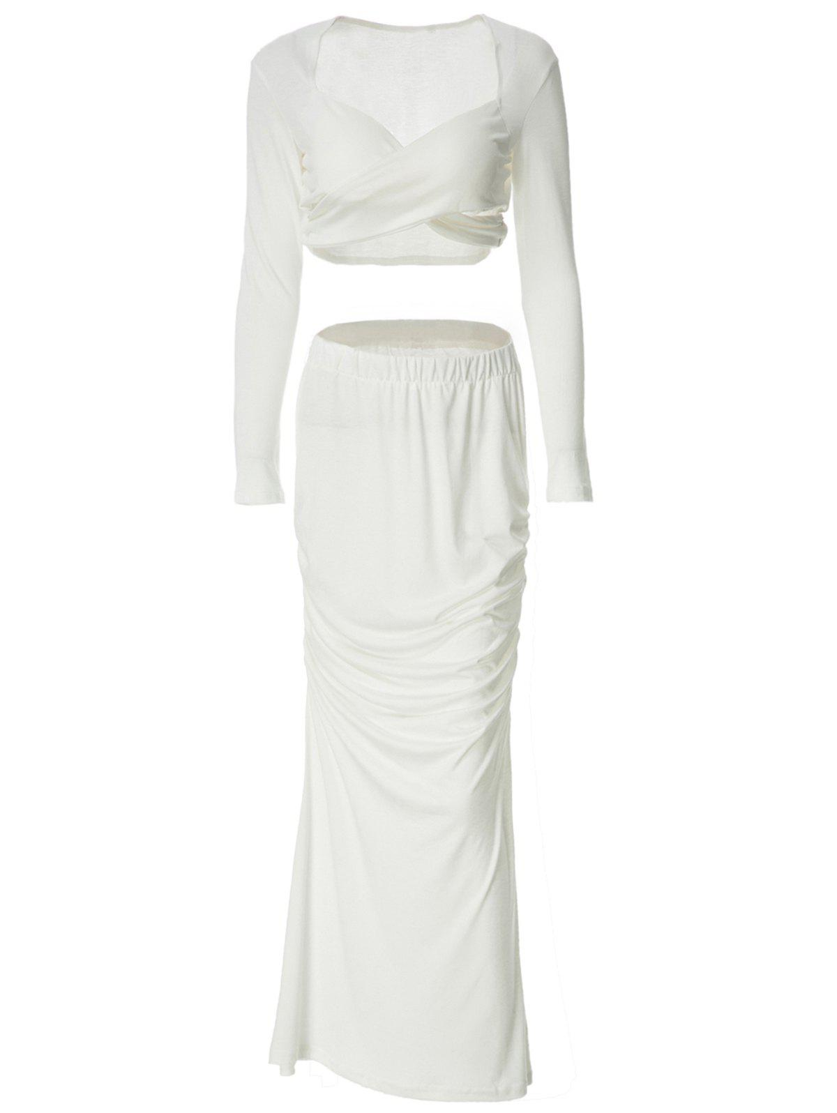Long Sleeve Sweetheart Neck T Shirt With Maxi Skirt - WHITE S