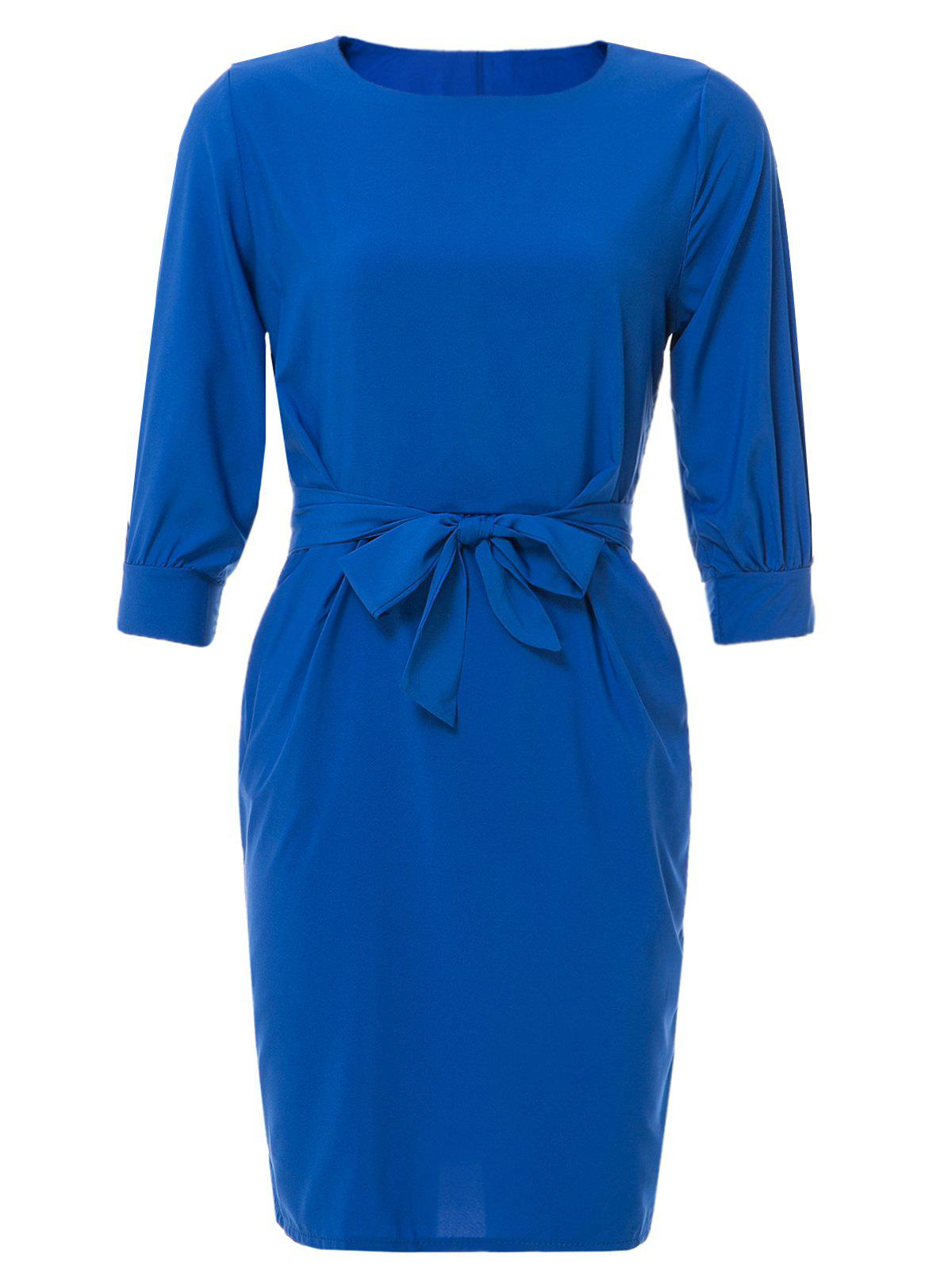 Sheath Boat Neck Dress With Belt - SAPPHIRE BLUE L
