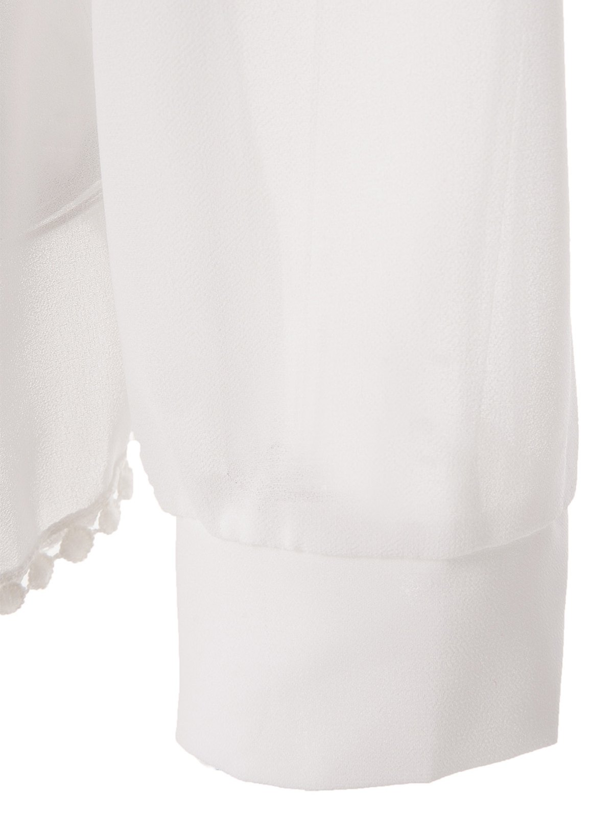 Sexy Style Jewel Neck Solid Color Back Slit Long Sleeve Blouse For Women - WHITE M