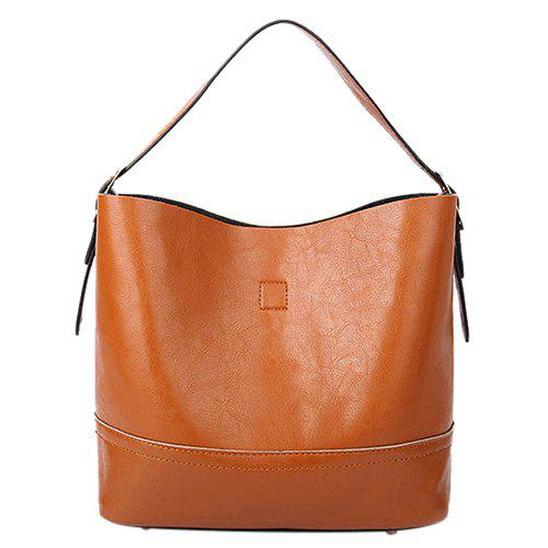 Simple Buckle and Solid Color Design Women's Tote Bag - LIGHT BROWN