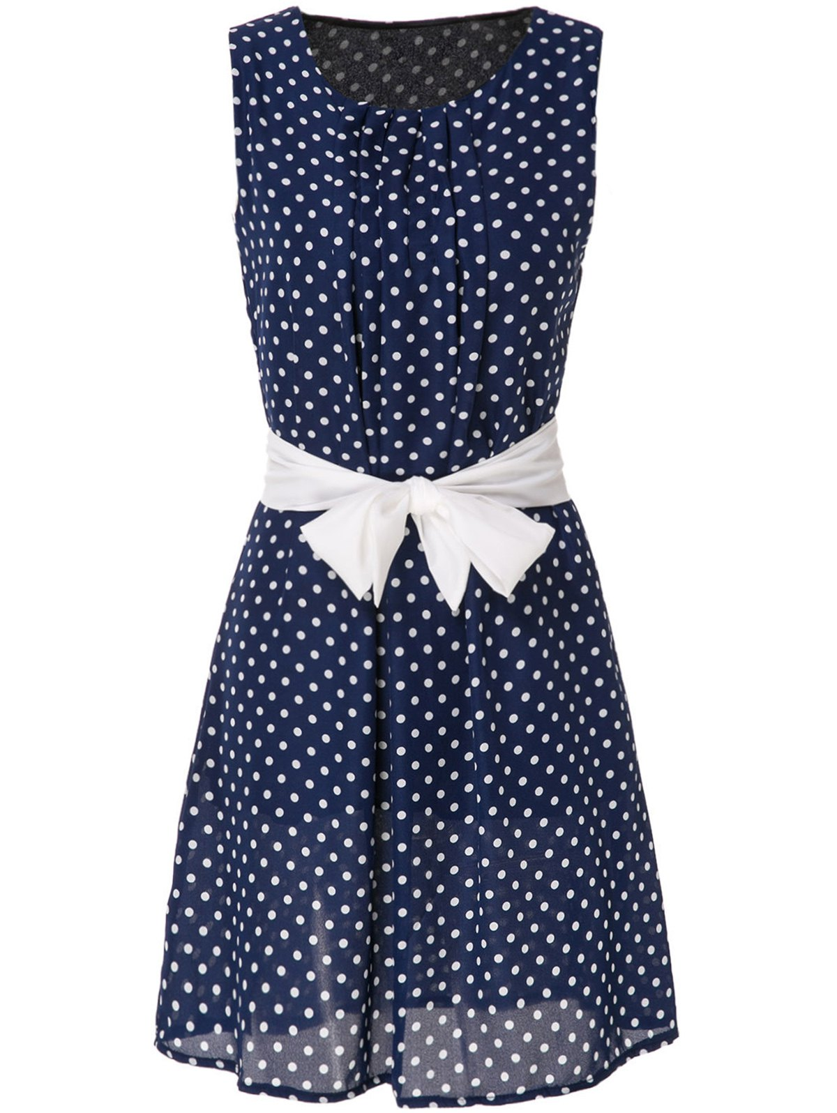 Sweet Polka Dot Print Scoop Neck Sleeveless Dress For Women - BLUE S