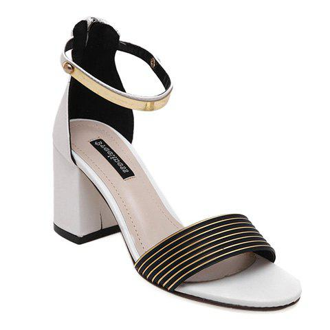Leisure Striped and Metal Design Women's Sandals - WHITE 38