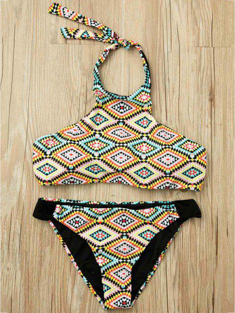 Sexy Halter Sleeveless Colored Geometric Pattern Women's Bikini Set - COLORMIX L