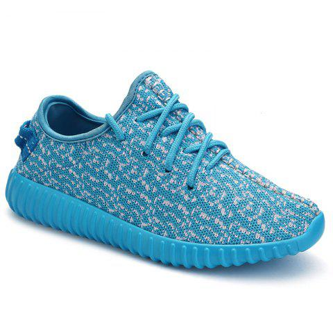 Casual Lace-Up and Mesh Design Women's Sneakers - LAKE BLUE 37