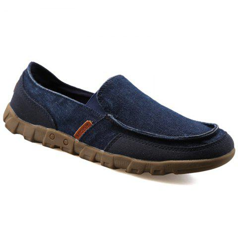 Casual Solid Color and Stitching Design Men's Loafers - BLUE 44
