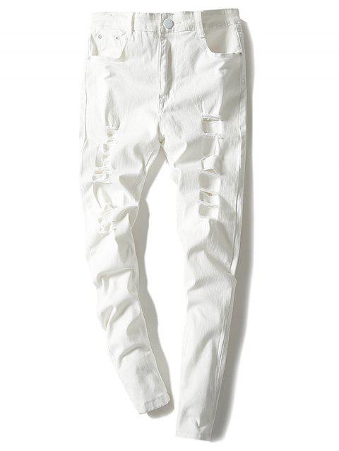 Modish Solid Color Hole Design Narrow Feet Jeans For Men - WHITE 32
