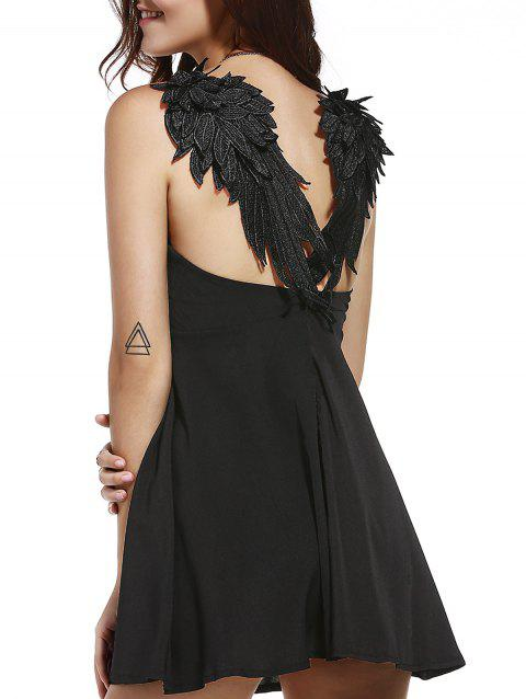 Stylish Women's Spaghetti Straps Wing Patchwork Fit and Flare Dress - BLACK M