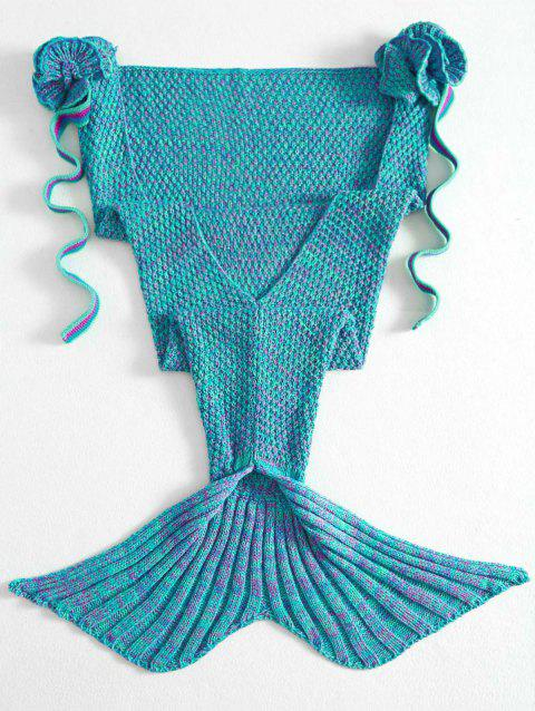 Fashion Knitted Flowers Embellished Mermaid Tail Shape Blanket For Kids