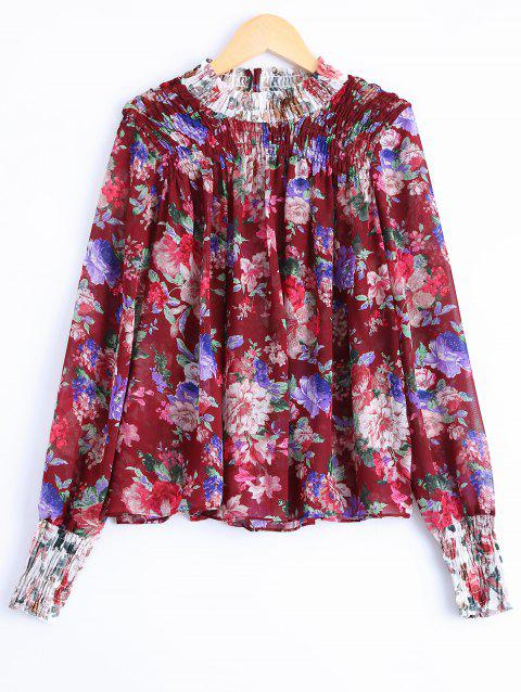 Fashionable Long Sleeves Floral Print Blouse For Women - DARK AUBURN ONE SIZE(FIT SIZE XS TO M)