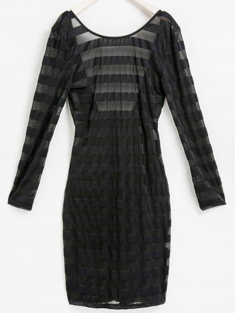 Sexy Scoop Neck manches longues moulante See-Through Women 's  Stripe Dress - Noir ONE SIZE(FIT SIZE XS TO M)