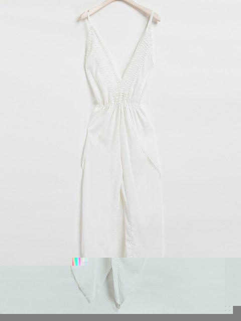 Sexy Sleeveless Plunging Neck White Backless Asymmetrical Jumpsuit For Women - WHITE S