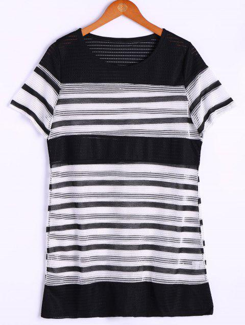 Fashionable Stripe Short Sleeve Round Neck Top For Women - GREY/WHITE ONE SIZE(FIT SIZE XS TO M)