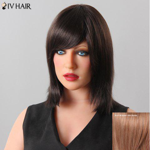 Stylish Natural Straight Inclined Bang Siv Hair Human Hair Women's Wig - BROWN/BLONDE