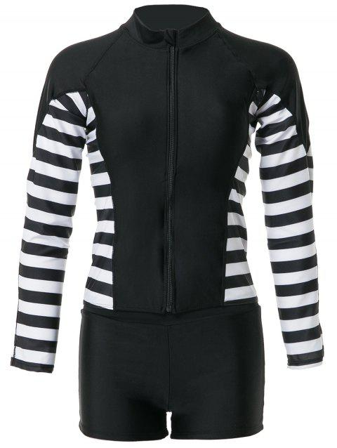 Stylish Women's Round Neck Long Sleeve Striped Two-Piece Swimsuit - BLACK M