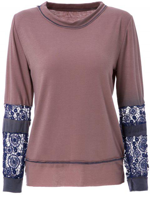 Scoop Neck Long Sleeve Tie-Dyeing  T-Shirt For Women - COFFEE M