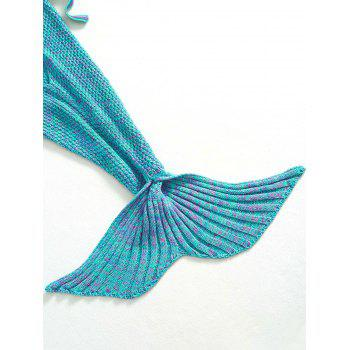Fashion Knitted Flowers Embellished Mermaid Tail Shape Blanket For Kids -  GREEN
