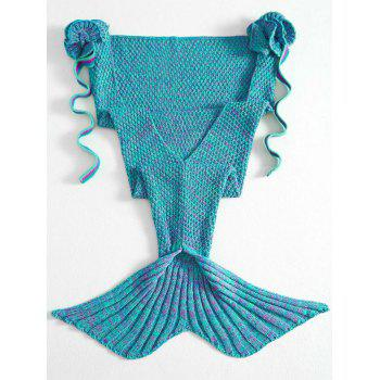 Fashion Knitted Flowers Embellished Mermaid Tail Shape Blanket For Kids - GREEN GREEN