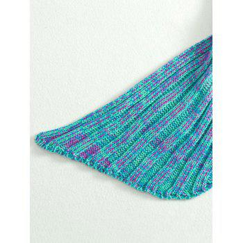 Fashion Knitted Flowers Embellished Mermaid Tail Shape Blanket For Kids -  PURPLE