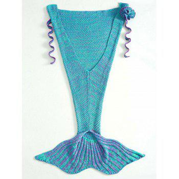 Fashion Knitted Flowers Embellished Mermaid Tail Shape Blanket For Kids - PURPLE PURPLE