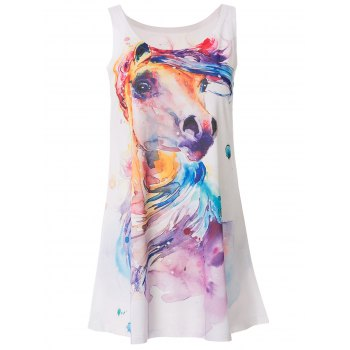 Cute Colorful Horse Head Print Tank Top For Women