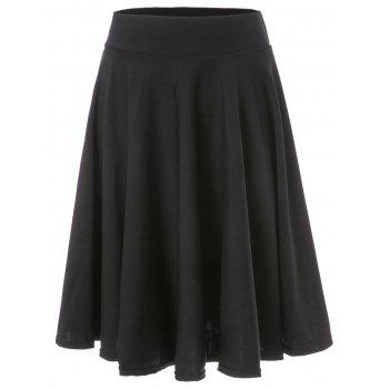 OL Style Women's High-Waisted Solid Color Flare Skirt