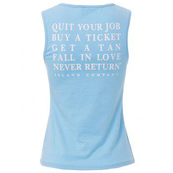 Charming Back Letter Printed Loose Tank Top For Women - AZURE S
