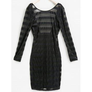 Sexy Scoop Neck Long Sleeve Bodycon See-Through Women's Stripe Dress