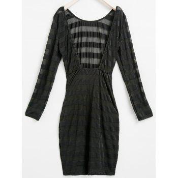 Sexy Scoop Neck Long Sleeve Bodycon See-Through Women's Stripe Dress - BLACK ONE SIZE(FIT SIZE XS TO M)
