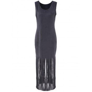 Sexy Scoop Neck Sleeveless Fringed Pure Color Wome's Dress