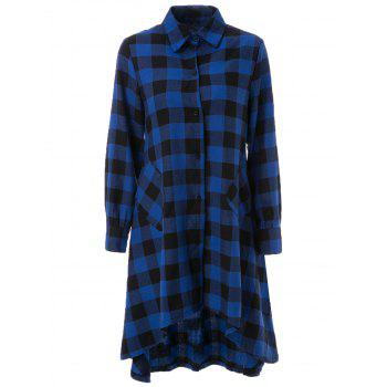 Long Sleeve Asymmetrical Plaid Dress For Women