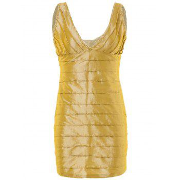 Chic Plunging Neck Backless Sleeveless Golden Bodycon Dress For Women