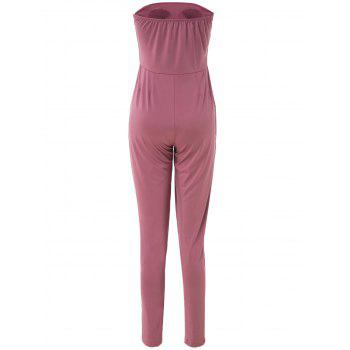 Charming Strapless Sleeveless Solid Color Pocket Design Women's Jumpsuit - LIGHT PURPLE LIGHT PURPLE