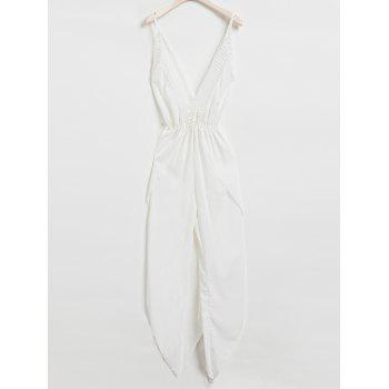 Sexy Sleeveless Plunging Neck White Backless Asymmetrical Jumpsuit For Women
